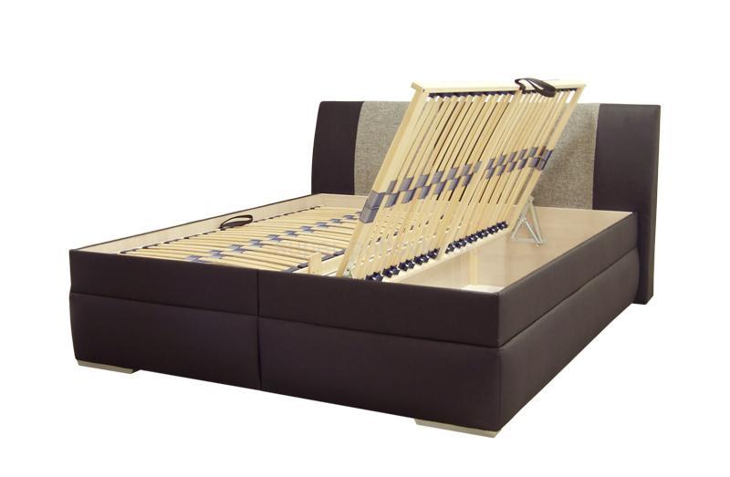 3c7b1fe65502 Moderná kožená manželská posteľ SABA 2